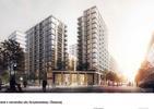 Bryły budynków osiedla mieszkaniowego budowanego przez Mennicę Polską S.A.